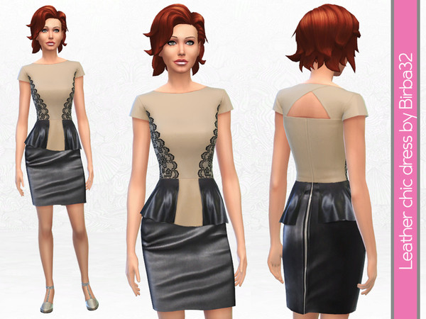 The Sims Resource: Leather and lace dress by Birba32