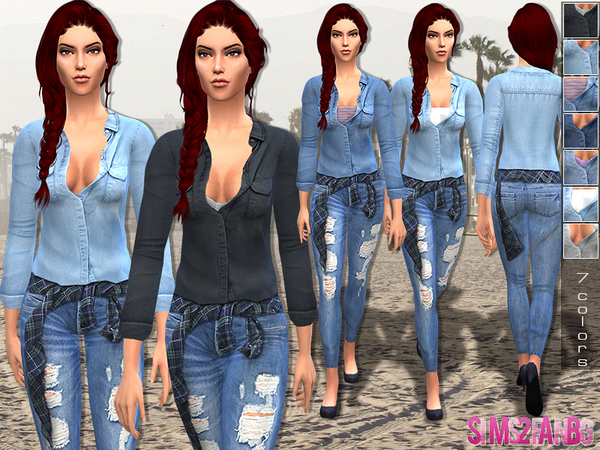 The Sims Resource: Denim outfit by Sims2fanbg