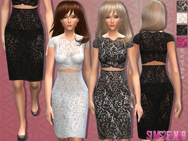 The Sims Resource: Lace outfit 12 by Sims2fanbg