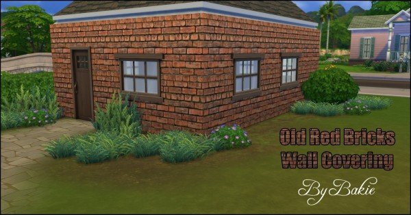 Mod The Sims: Old Red Bricks Wall Covering in 2 colors by Bakie