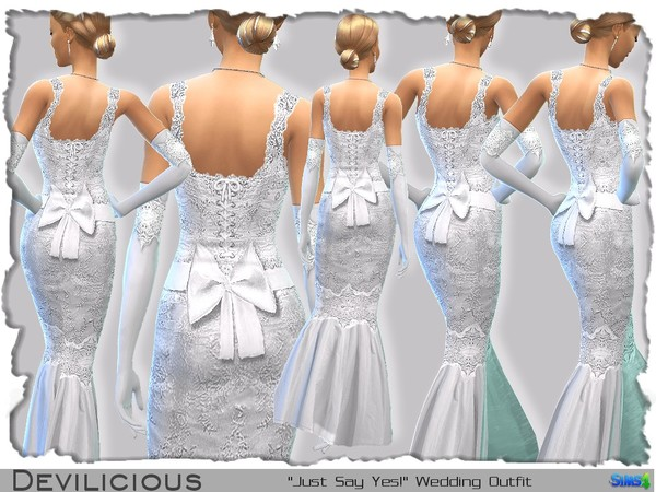 The Sims Resource: Just Say Yes! Wedding Outfit by Devilicious