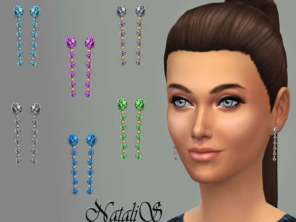 The Sims Resource: Multi crystals drop earrings by NataliS