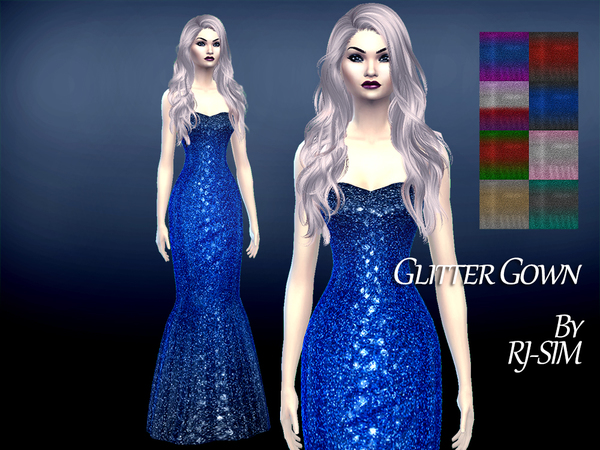 The Sims Resource: Gradient Glitter Gown by RJ SIM