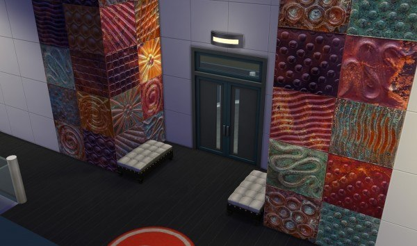 Mod The Sims: Embossed Metal Art Wall Tile Set by WooTi