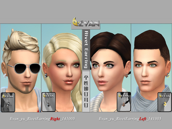 The Sims Resource: Evan yu Rivet Earrings by woodenhalo