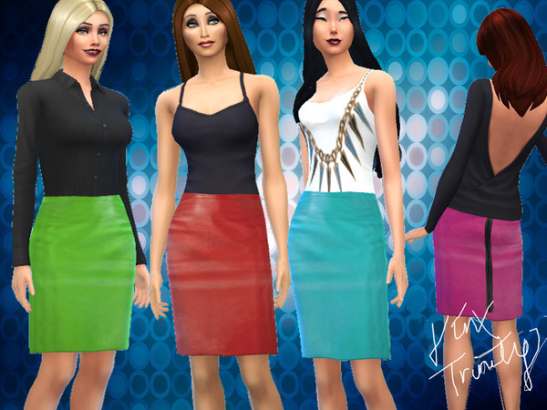 The Sims Resource: Highwaisted Leatherskirts by JinxTrinity
