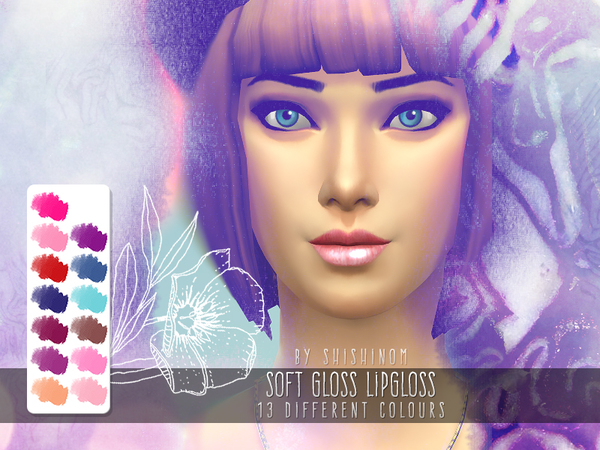 The Sims Resource: Soft Gloss Lipgloss in 13 Colours by Chisali