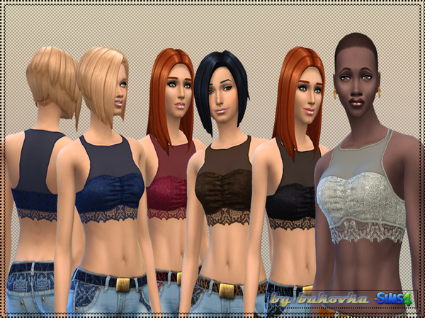 The Sims Resource: Lace set  top and jeans by Bukovka