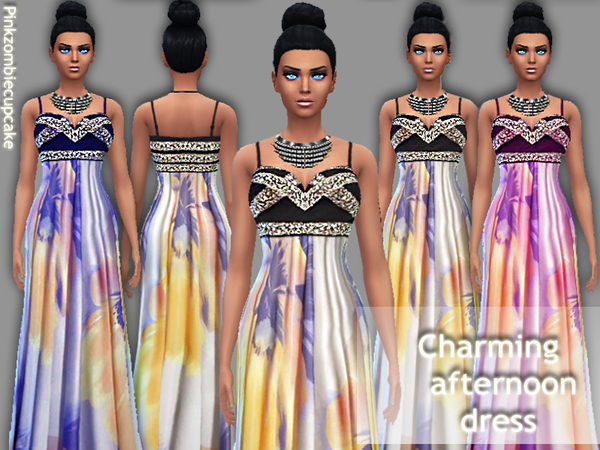 The Sims Resource: Charming afternoon dress by Pinkzombiecupcake