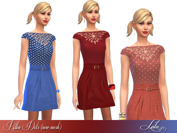 The Sims Resource: Polka Dots Dress   New Mesh by Lulu265