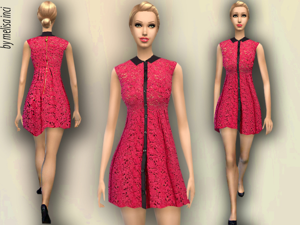 The Sims Resource: Peter Pan Collar Lace Dress by Melissa Inci