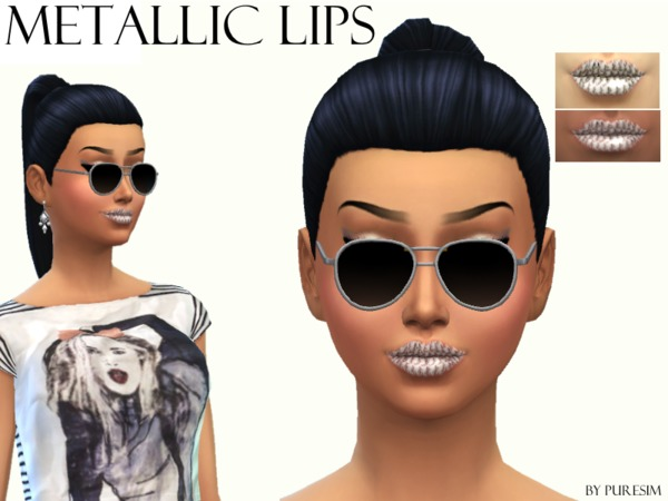 The Sims Resource: Silver Metallic Lips by PureSim
