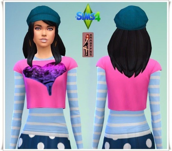 Annett`s Sims 4 Welt: 2 in 1 Shirt Heart
