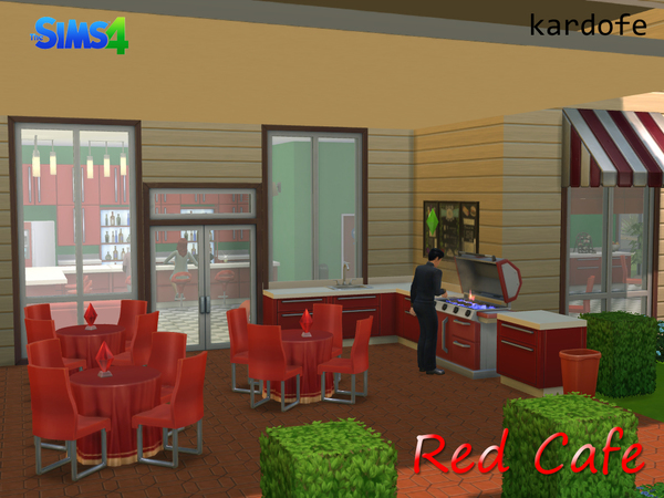 The Sims Resource: Red Cafe community lot by Kardofe