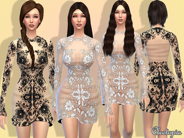 The Sims Resource: Haute Coutoure Embroidery Dress by Cleotopia