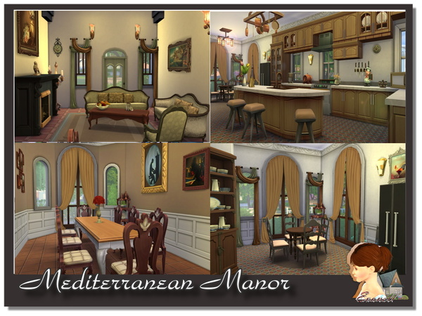 The Sims Resource: Mediterranean Manor residential home by Evanell