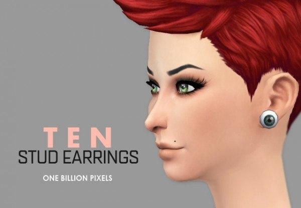 One Billion Pixels: Ten Stud Earrings