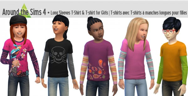 Around The Sims 4: Long Sleeves T shirt with short sleeves T shirt