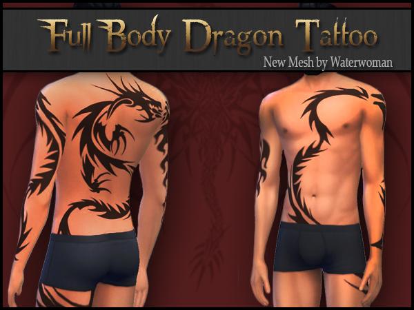 "Akisima Sims Blog: Full Body Tattoo Mesh ""Dragon"""