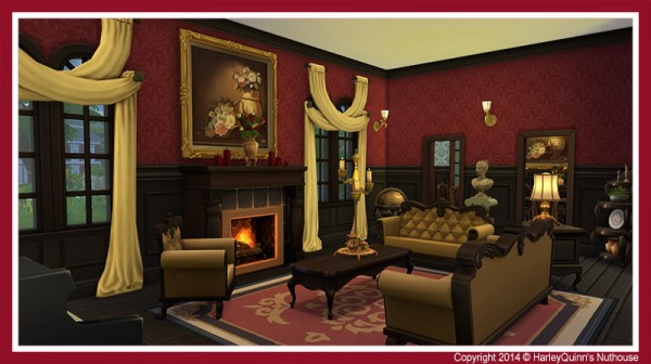Harley Quinn Nuthouse Goth Manor Residential Lot Sims 4