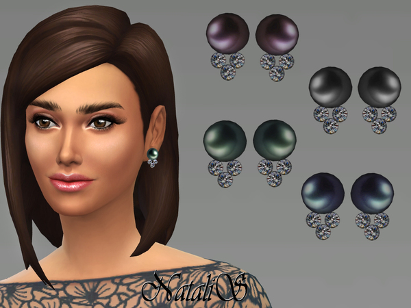 The Sims Resource: Pearl with diamonds earrings by NataliS
