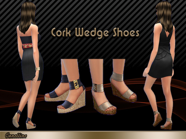 The Sims Resource: Cork Wedge Shoes by Canelline