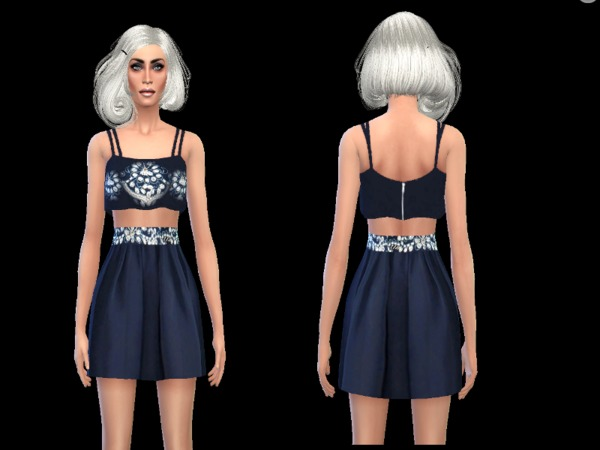 The Sims Resource: Mystic blue dress by simsoertchen