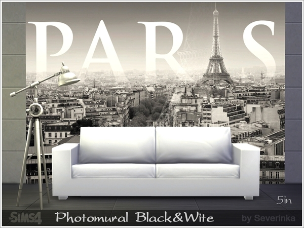 The Sims Resource: Photomural Town black&wite by Severinka