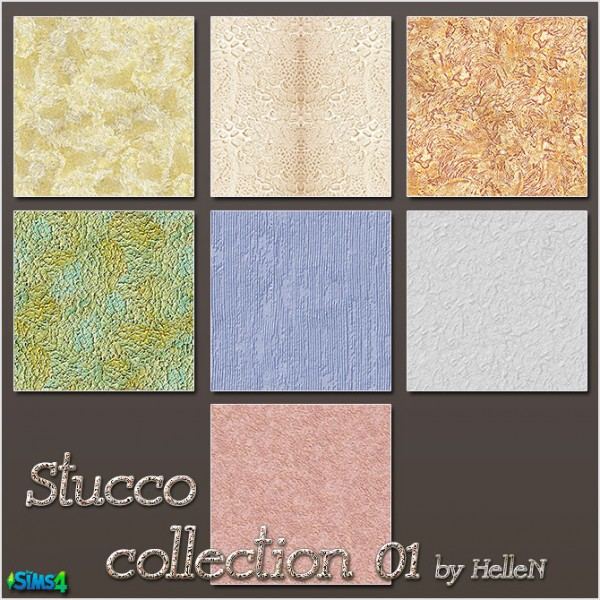 Sims Creativ: Stucco Collection 01 by HelleN