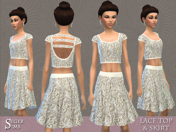 The Sims Resource: Lace Top & Skirt  by SegerSims