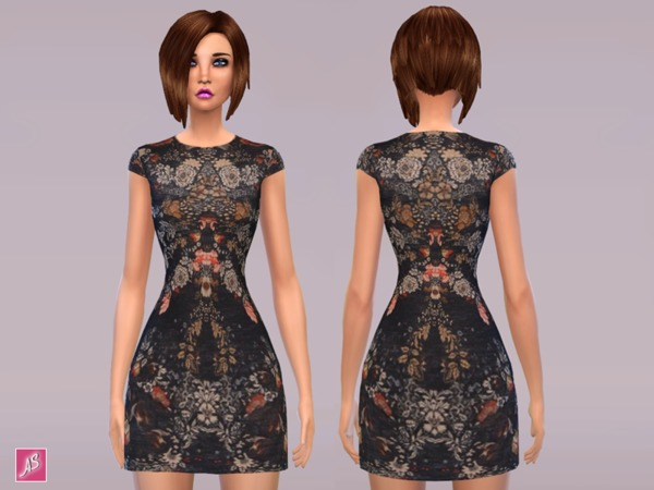 The Sims Resource: Black Floral Dress by Alexandra Sine