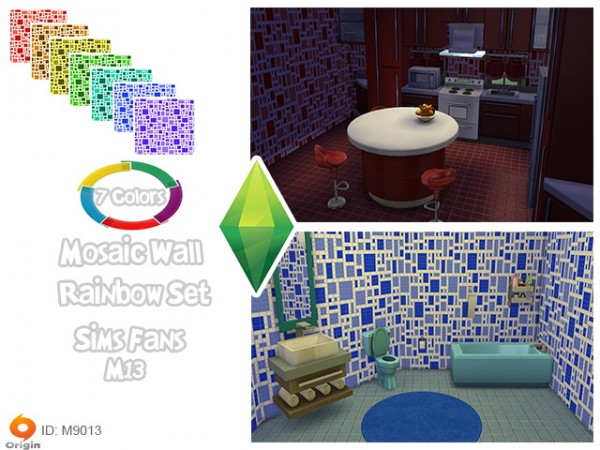 Sims Fans: Mosaic wall rainbow set by M13