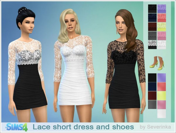 Sims by Severinka: Lace short coctail dress and shoes