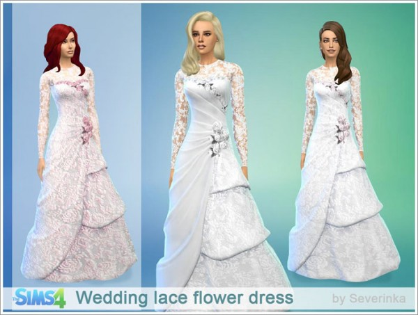 Sims by Severinka: Wedding lace flower dress