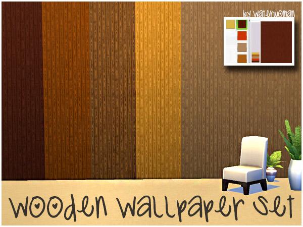 Akisima Sims Blog: Wooden Wallpaper Set