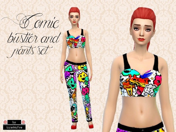 The Sims Resource: Comic bustier and pants set  by Izzie McFire