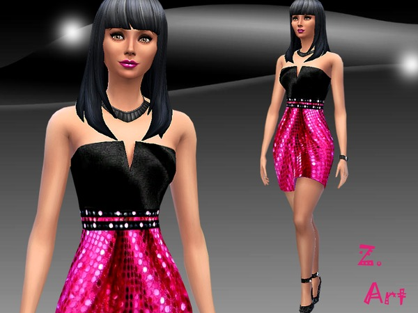 The Sims Resource: Disco glam dress by Zuckerschnute20