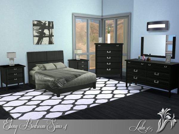 The sims resource ebony bedroom by lulu265 sims 4 downloads for Bedroom designs sims 4