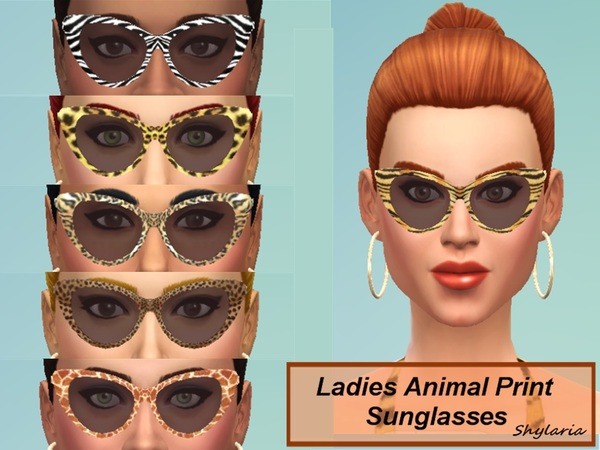 The Sims Resource: Ladies Animal Print Cats Eye Sunglasses by Shylaria