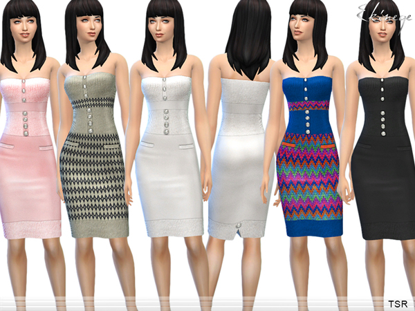 The Sims Resource: Knit Strapless Dress by ekinege