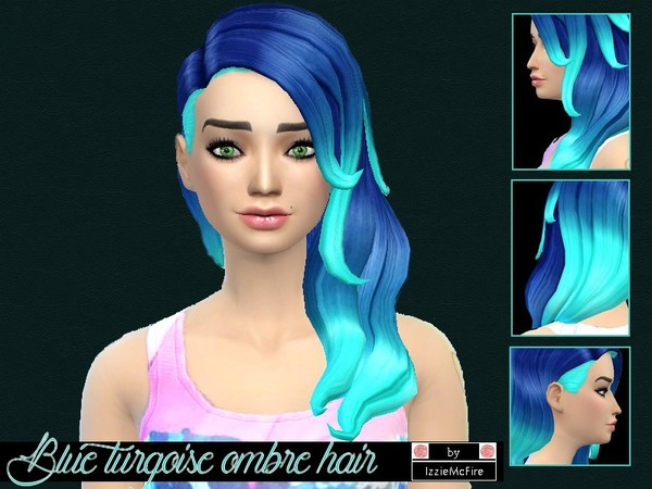 The Sims Resource: Blue turqoise ombre hair by Izzie Mc Fire
