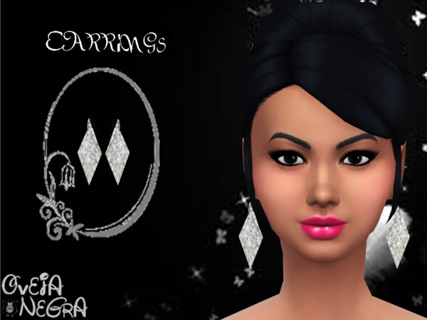 The Sims Resource: Silver Rhombus Earrings by OvejaNegra