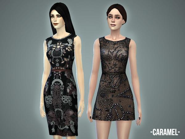 The Sims Resource: Caramel dress set by April