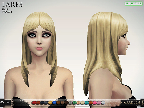 The Sims Resource: Madlen Lares Hair by MJ95
