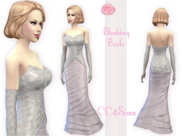 CC4Sims: Blushing bride dress