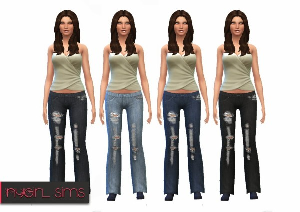 NY Girl Sims: Studded Pocket Distressed Denim