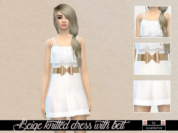 The Sims Resource: Beige knitted dress with belt by IzzieMcFire
