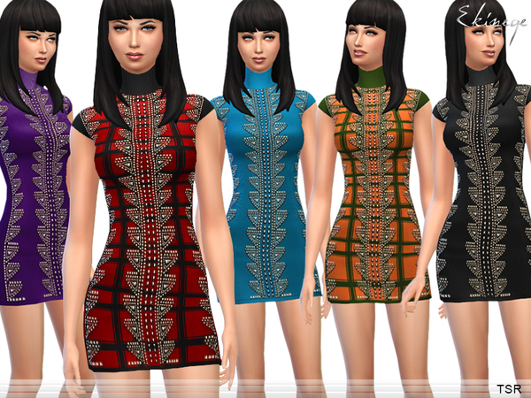 The Sims Resource: Studded Knit Dress by Ekinege