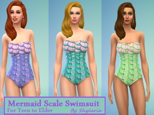 The Sims Resource: Ladies Mermaid Scale Swimsuit by Shylaria