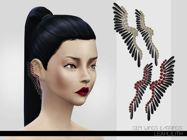 The Sims Resource: Gem Wings Earrings by LeahLillith